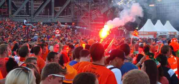 Dutch Light Flares Watching World Cup