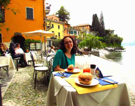 Varenna cafe lunch, looking out to Lake Como, Bellagio and Menaggio