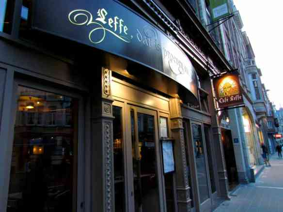 Cafe Leffe in Leuven. One of several Cafe Leffe's you'll find across Belgium from the world's biggest beer company, Anheuser Busch-Inbev, headquartered in Leuven.