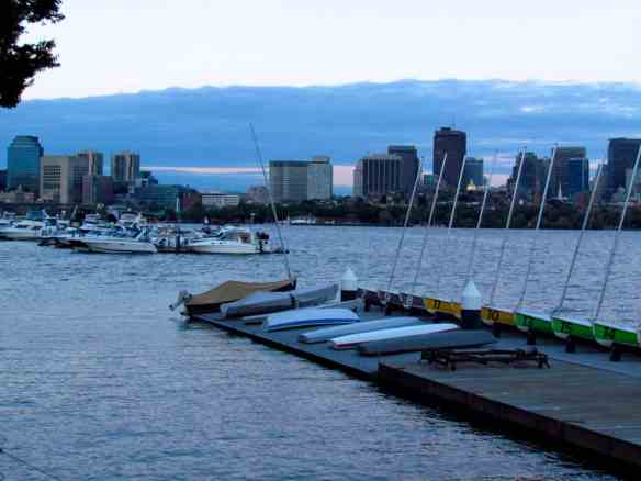 Boston from the Charles River, near the campus of MIT.