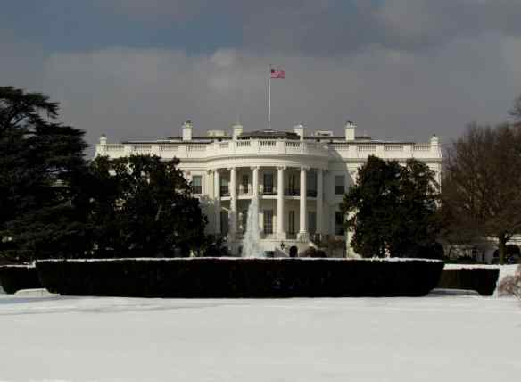 The White House lawn covered in snow