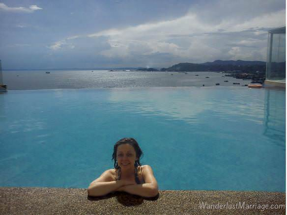 Infinity pool at the Sheraton in Sandakan Borneo