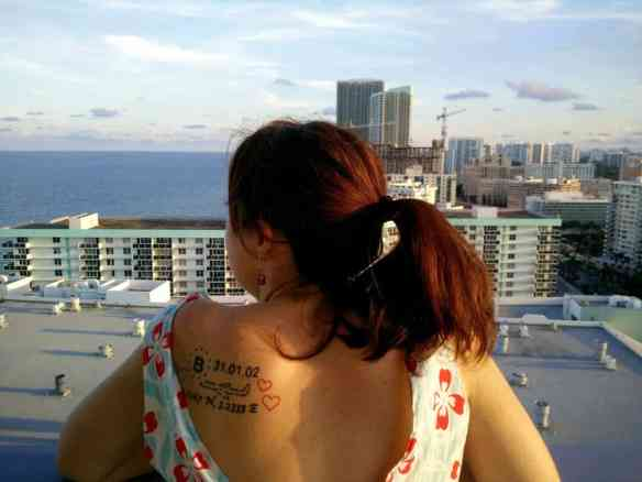 Hollywood Beach Florida balcony tattoo closeup