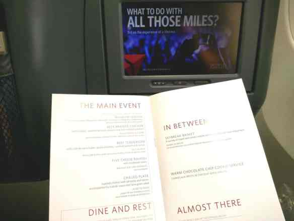 Delta elite food and drink, first class menu