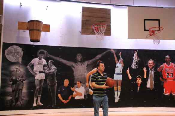 shooting hoops at the basketball hall of fame, Western Massachusetts