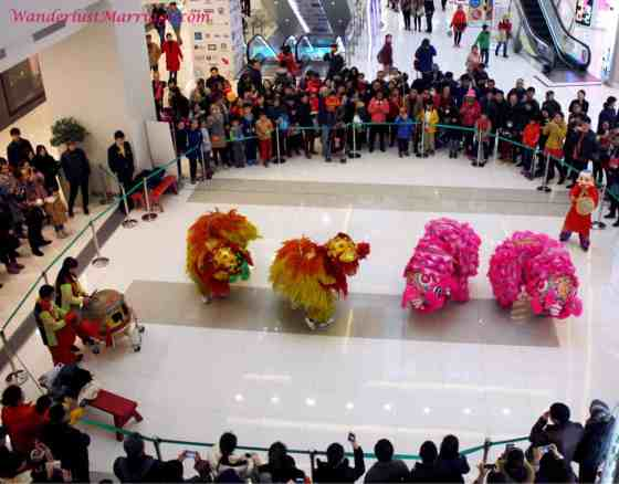 New Year dragon dance, Beijing, China shopping mall in Wangfujing