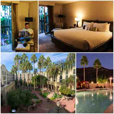 Collage of Mission Palms in Tempe, Arizona - room pool and courtyard