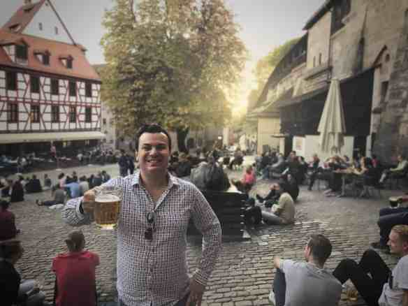 Alex enjoying a beer in Nuremberg