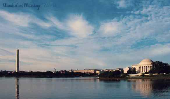 Landscape shot of the Tidal Basin with Jefferson monument and Washington monument