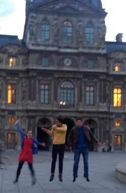 In front of the Louvre we tried about 6 or 7 times to get a good jumping photo, but this is the best we could get lol.