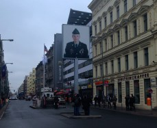 Checkpoint Charlie - a picture of an American soldier showing that you are entering the American sector of Berlin.