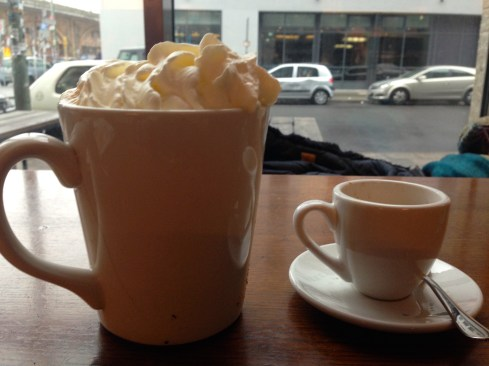 I ordered the vanilla latte on the left. My Italian friend ordered the espresso on the right. (such a size difference)