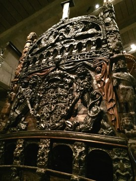 Vasa Museum: This ship sank after only 25 minutes into its maiden voyage. It took two years to build and was intended to show Sweden's strength during a war against Poland. After being underwater for 333 years, the Vasa was found in the harbor, brought to the surface, and restored to its original glory. 98% of the ship is original.