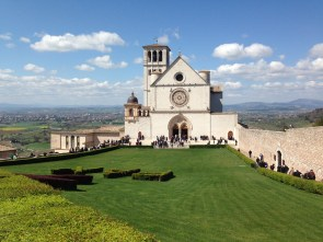 St. Francis founded Franciscan religious order in the town in 1208. This is the Basilica of San Francesco d'Assisi.
