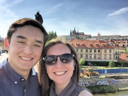 You can see Prague's castle behind us.
