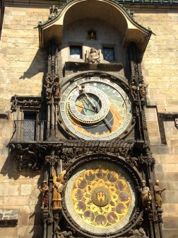 the astronomical clock chimes every hour with a short show