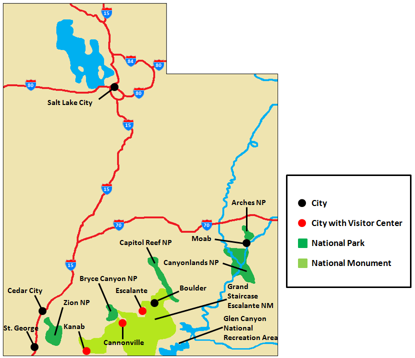 Southern Utah Parks Map