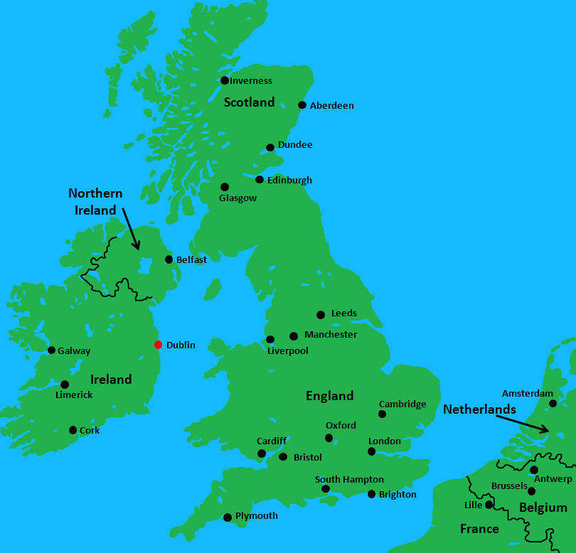 Ireland and UK Map - Dublin