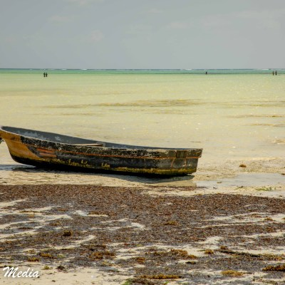 A beached boat near Paje Beach in Zanzibar