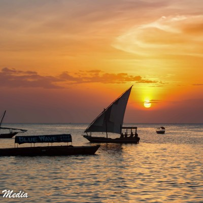 Sunset over the ocean near Stone Town
