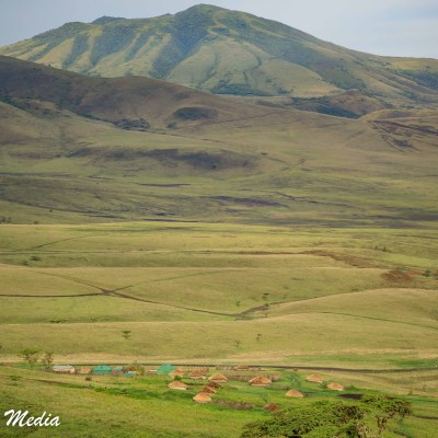A Masaai village near the Ngorongoro Crater