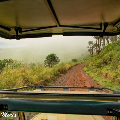Driving into the Ngorongoro Crater