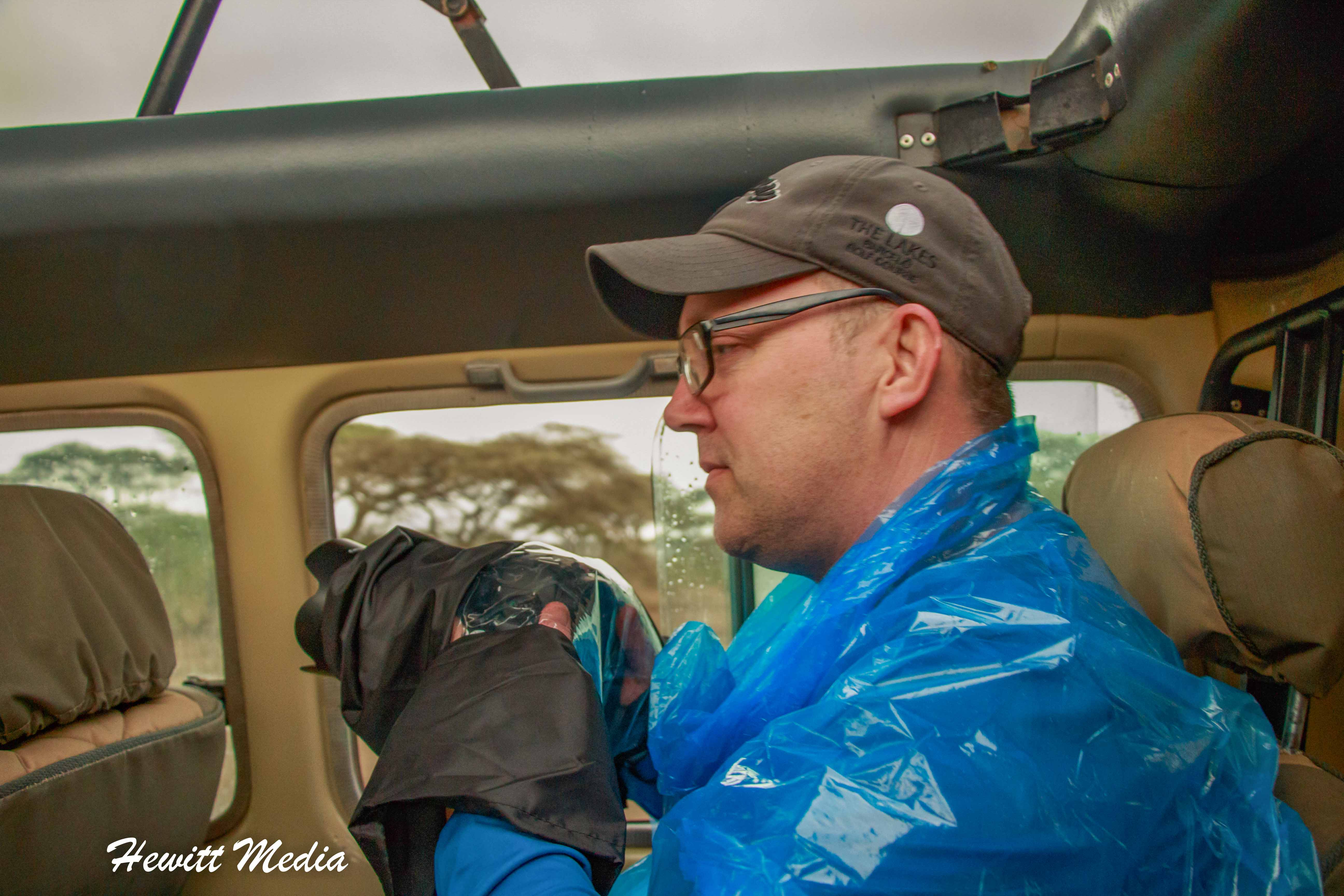 Geared up for the rain in the Serengeti National Park