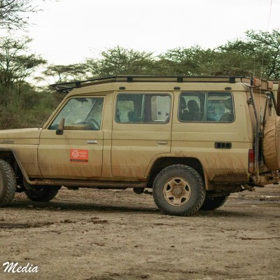 Safari vehicles in the Serengeti National Park