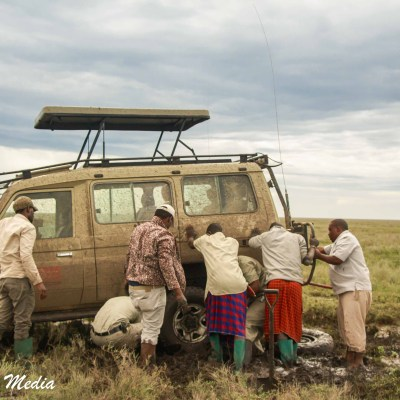 Getting our vehicle unstuck in the Serengeti National Park