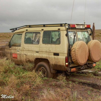 Our stuck vehicle in the Serengeti National Park