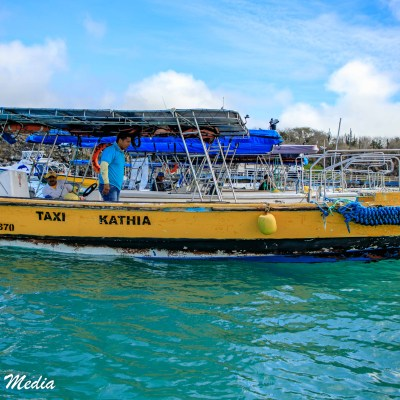Our boat ferry to our speed boat on Isabela Island.