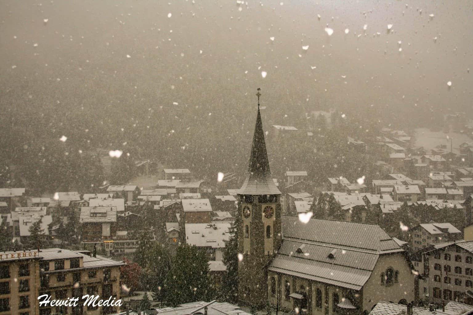 Zermatt during snow fall