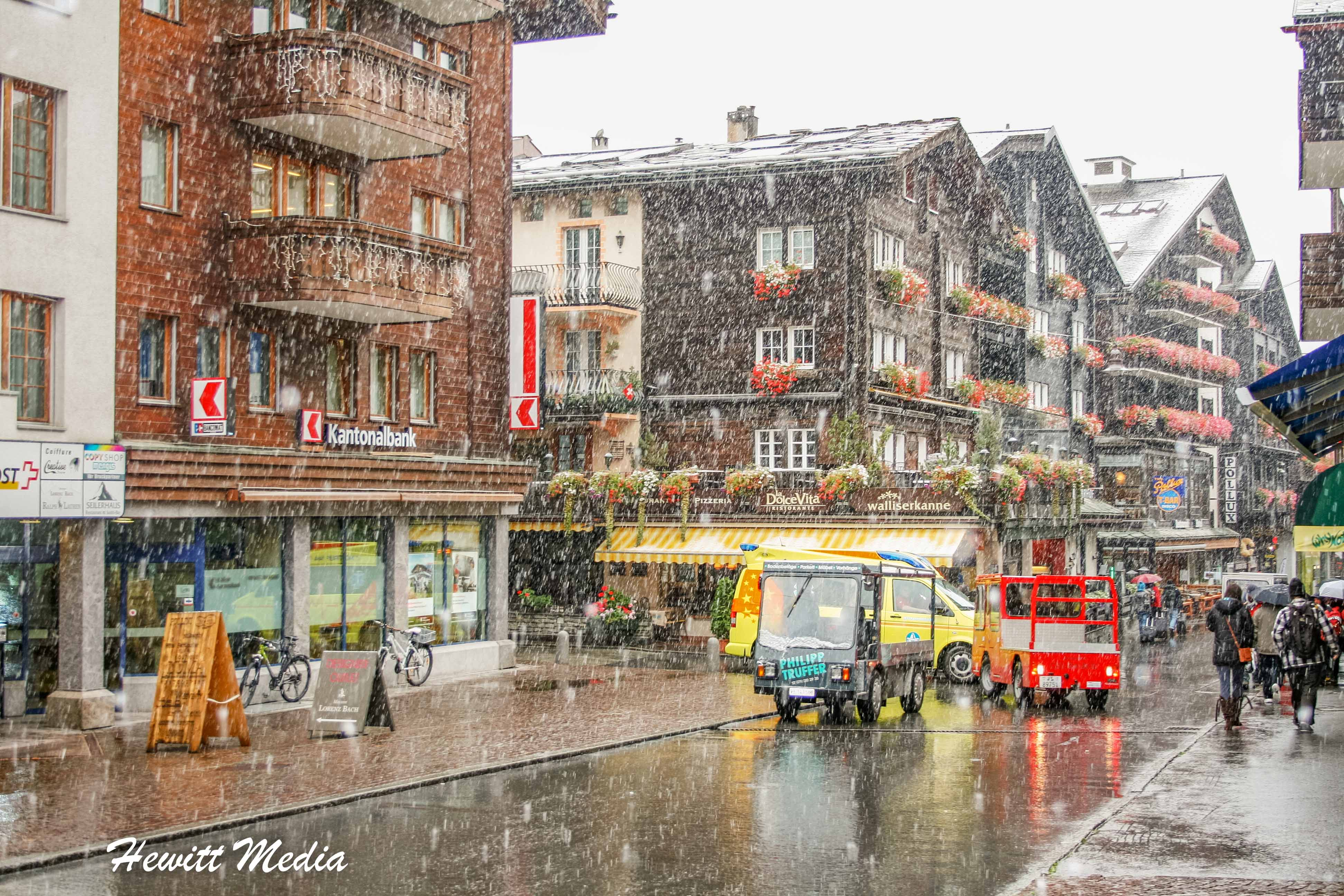 Zermatt village during snowfall
