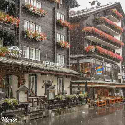 Zermatt village during snowfall