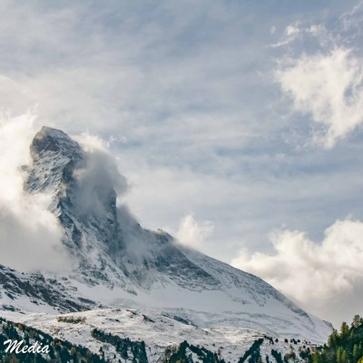 The Matterhorn covered by clouds