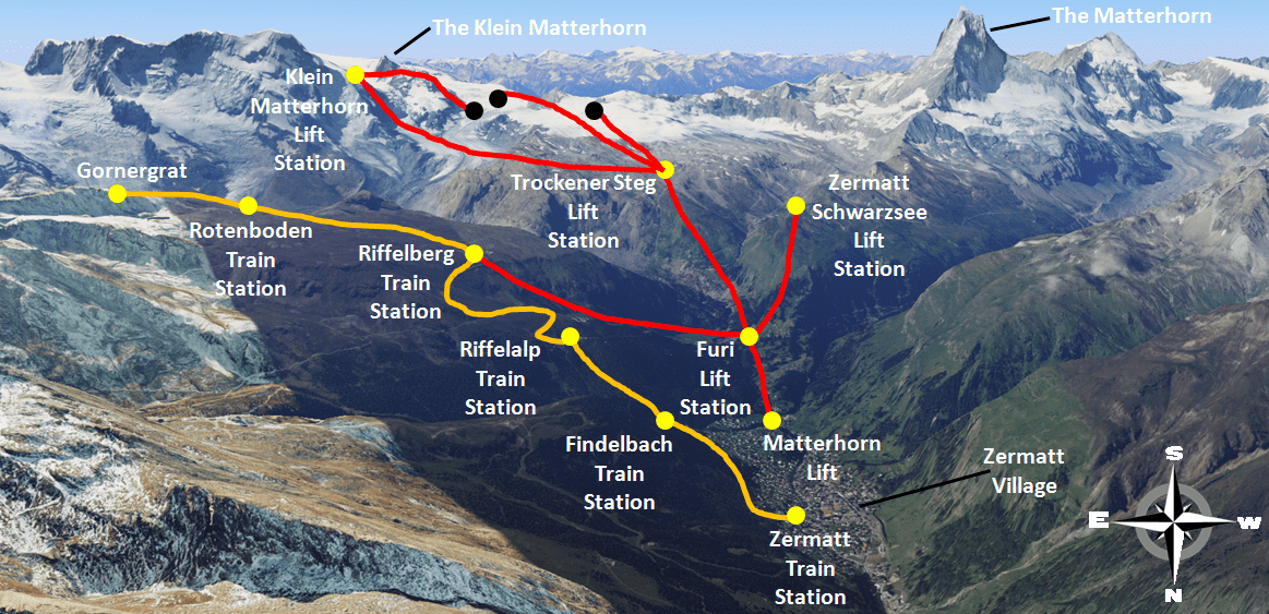 Zermatt Train and Lift Map