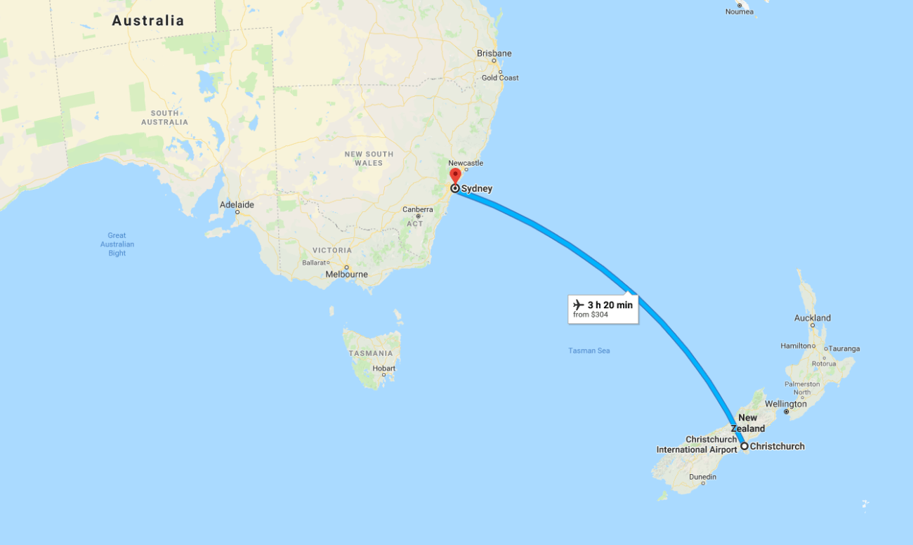 Christchurch to Sydney Map.png