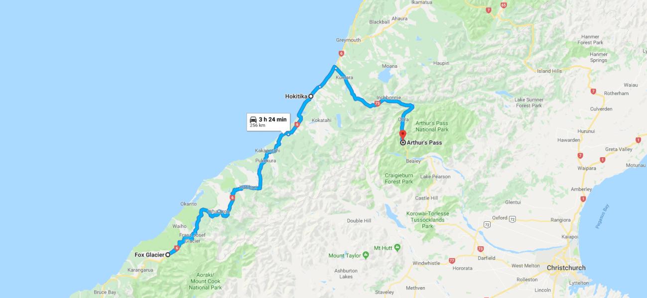 Fox Glacier to Aurthur's Pass Map.png