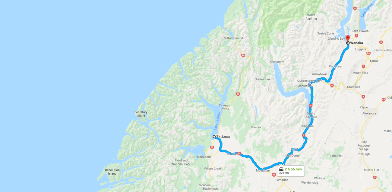 Te Anau to Wanaka Map.png