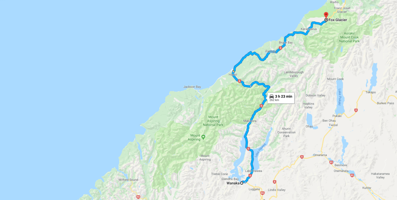 Wanaka to Fox Glacier Map.png