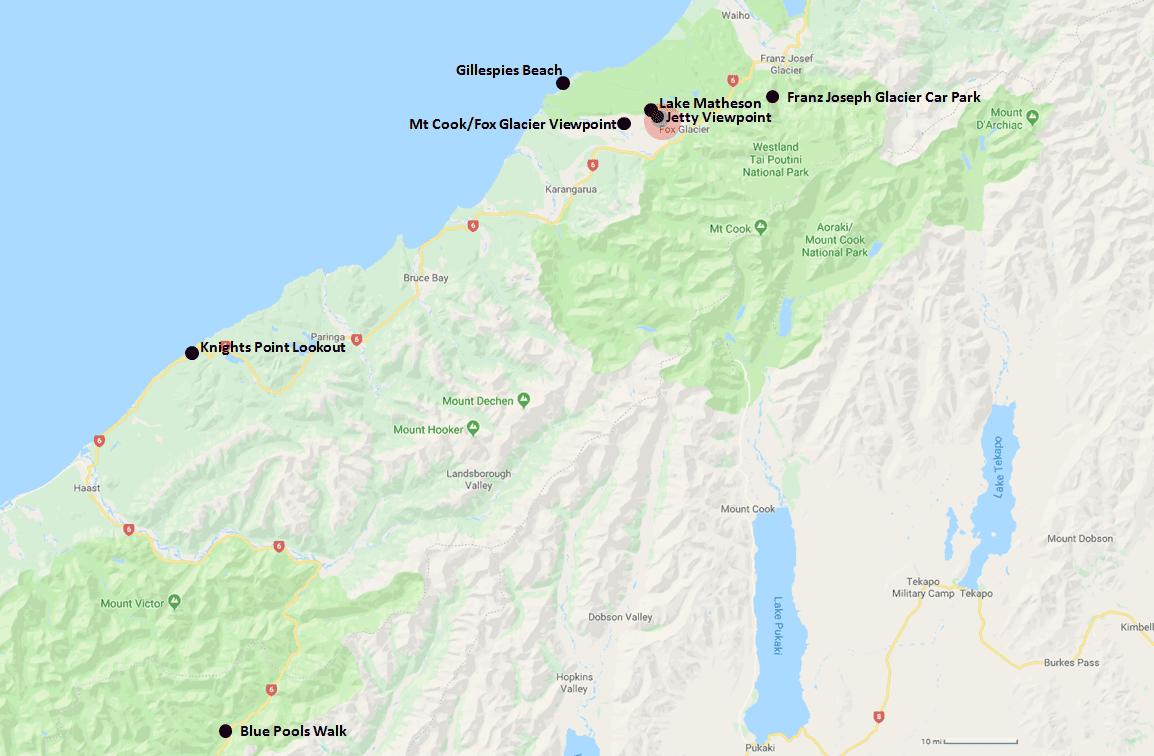 Fox Glacier Hotel Range Map