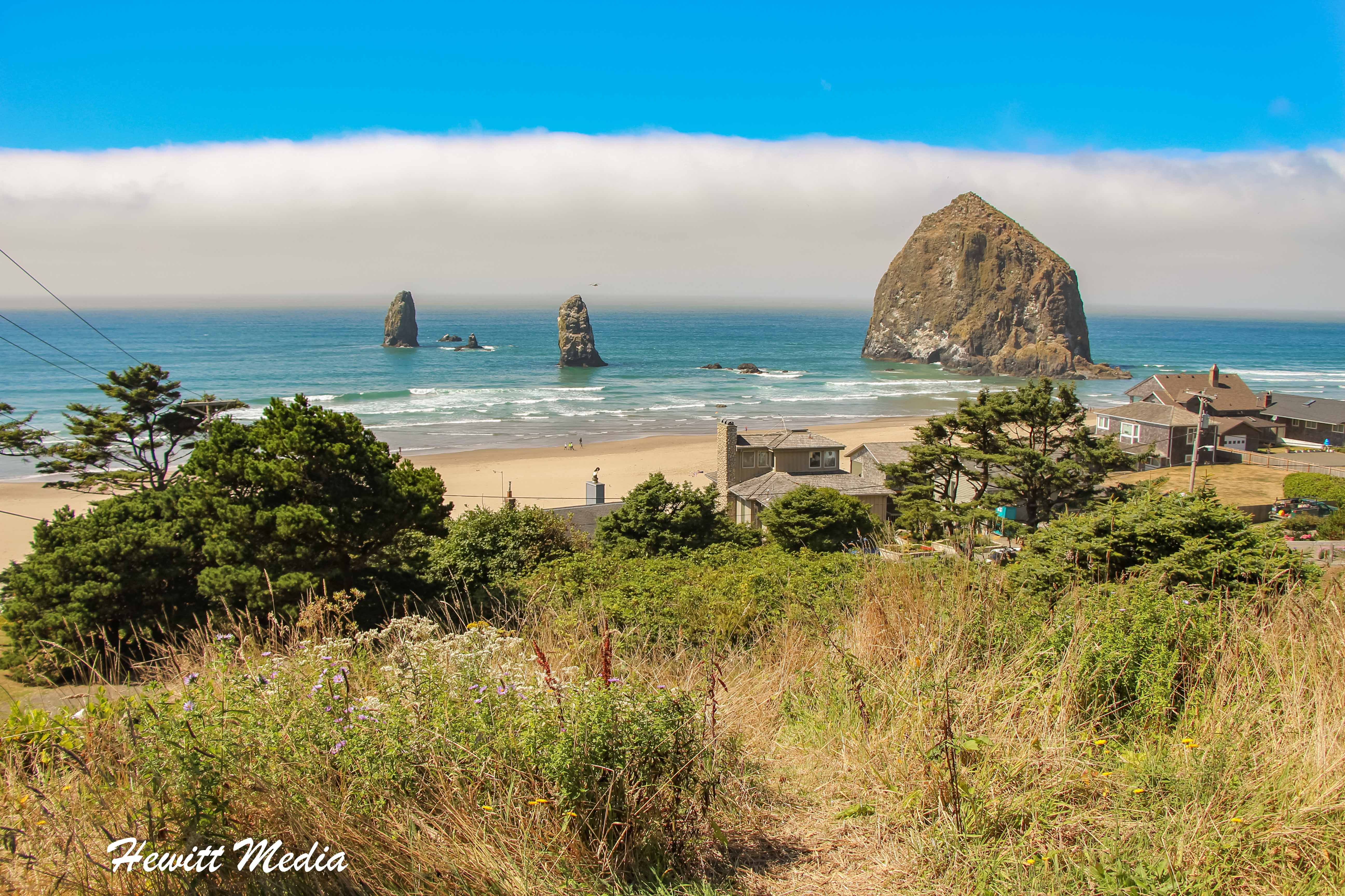 A view of the Haystack Rock off Canon Beach