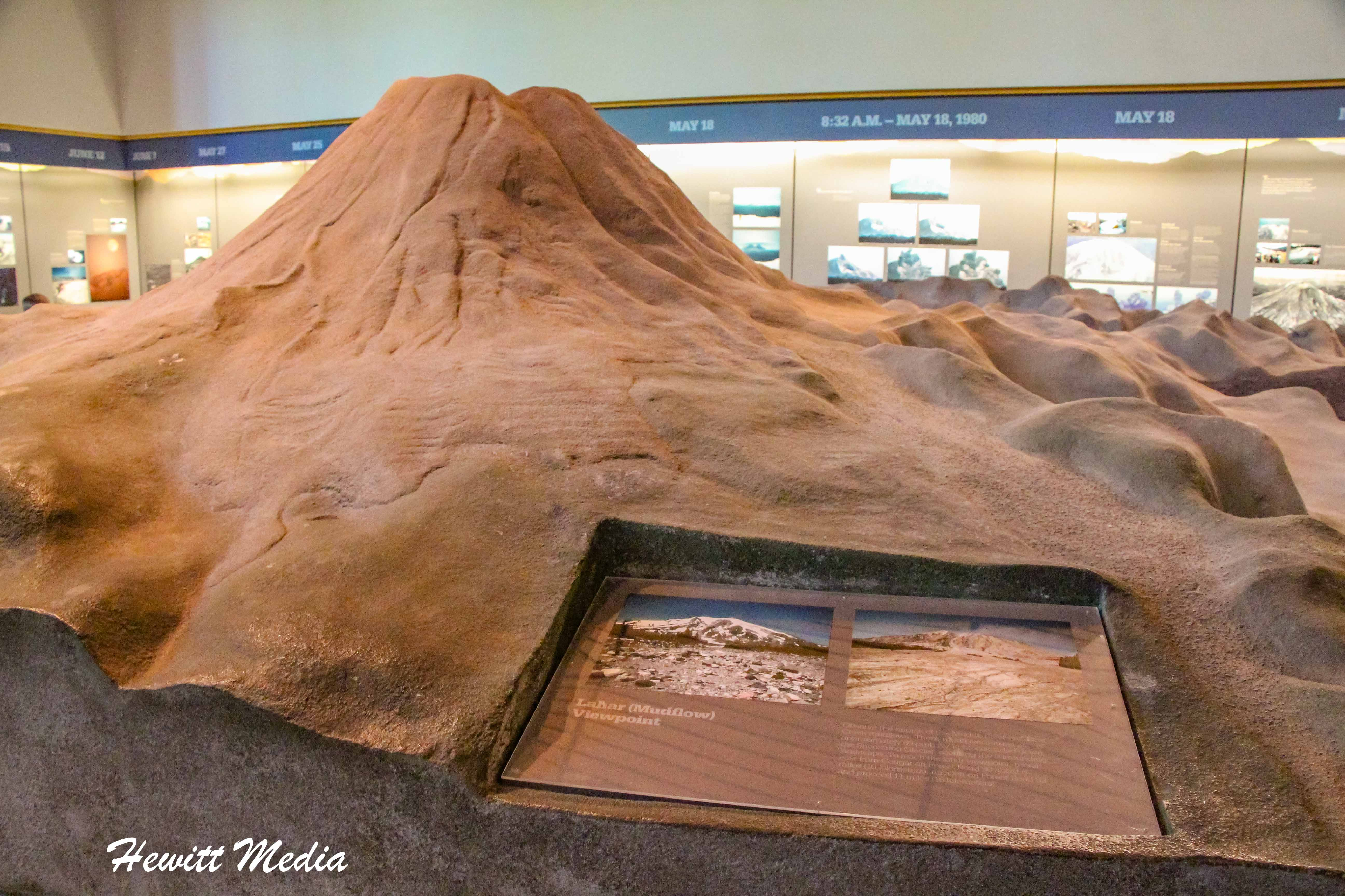Model of Mount St. Helens in the visitor center