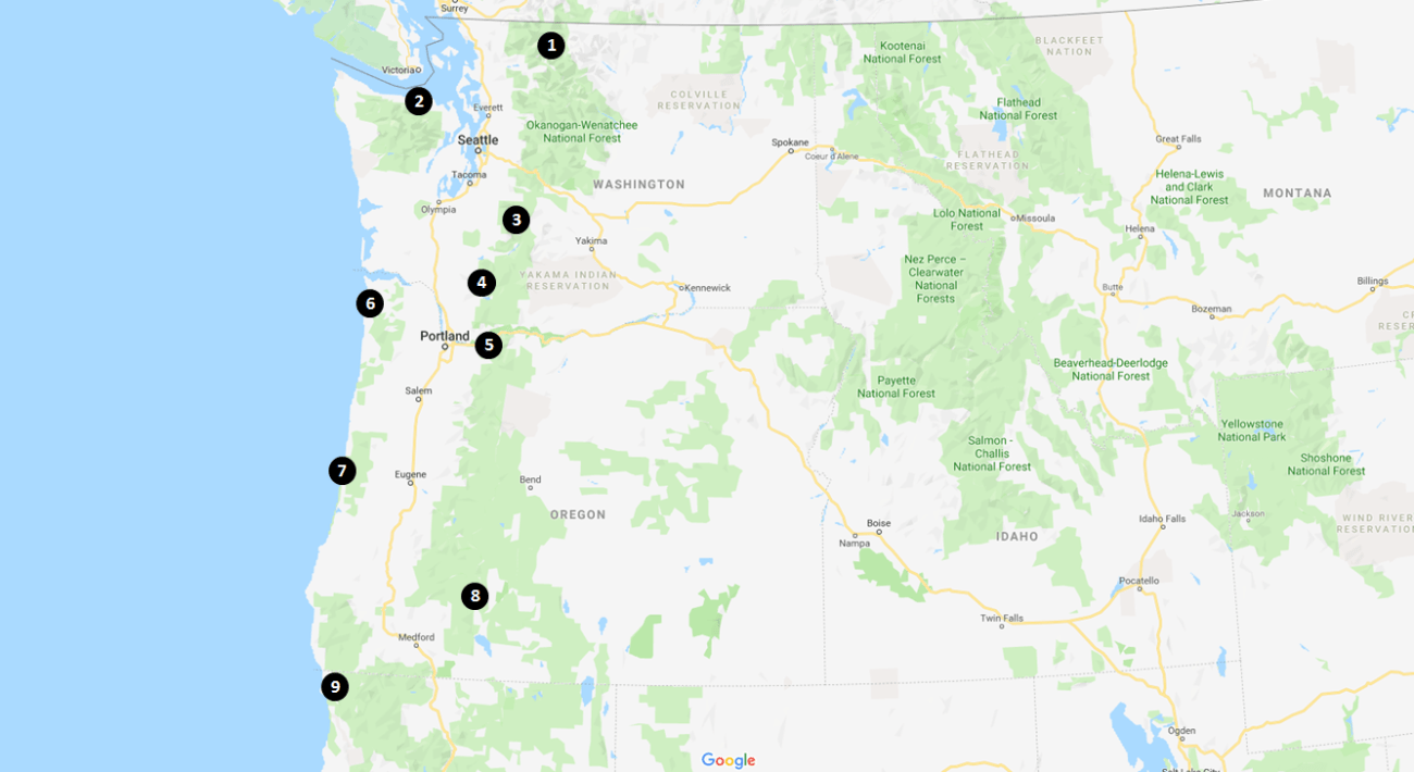 Mount St Helens Nearby Attractions Map