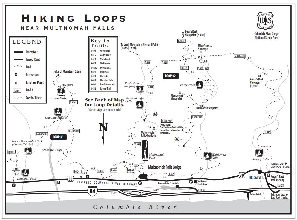 Multnomah Falls Trails Map