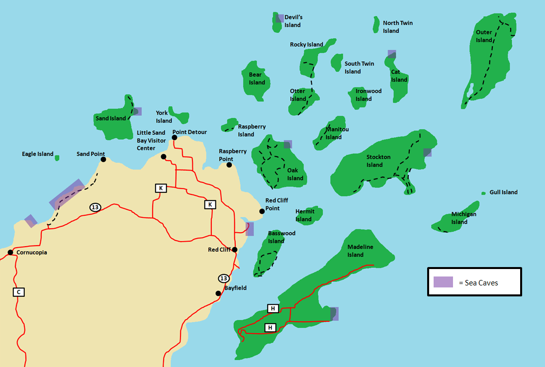 Apostle Islands Sea Caves Map