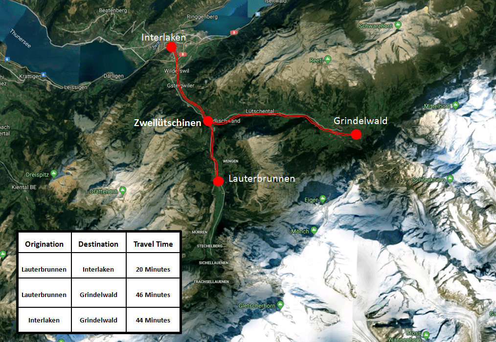 Lauterbrunnen Area Train Map