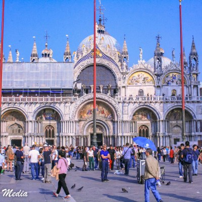 In front of Saint Mark's Cathedral in Venice