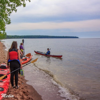 Launching kayaks in the Apostle Islands