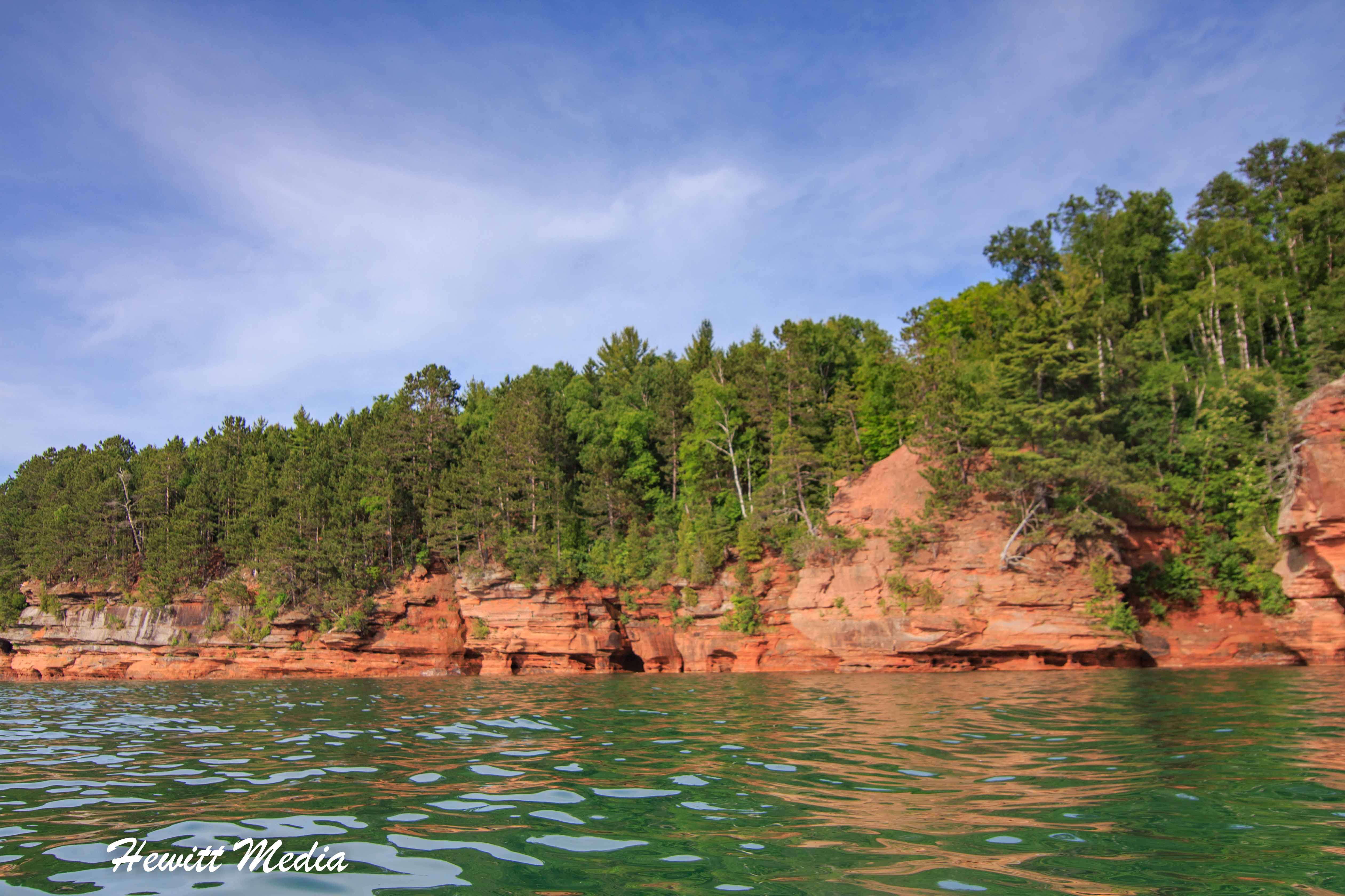 The rocky shoreline of the Apostle Islands